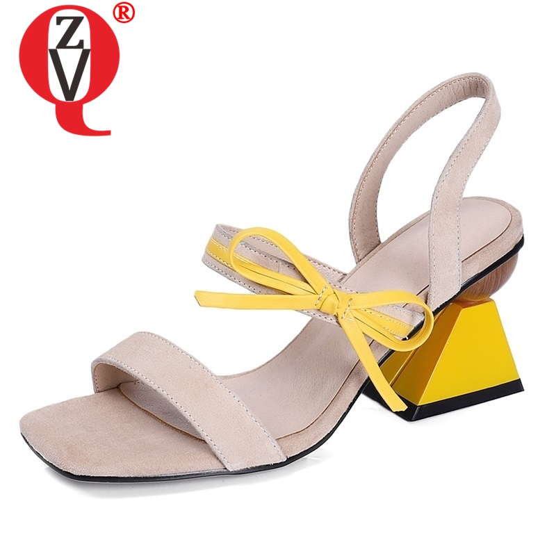 ZVQ shoes woman summer new fashion mixed colors kid suede woman sandals outside black and apricot super high strange style shoes-in High Heels from Shoes    1