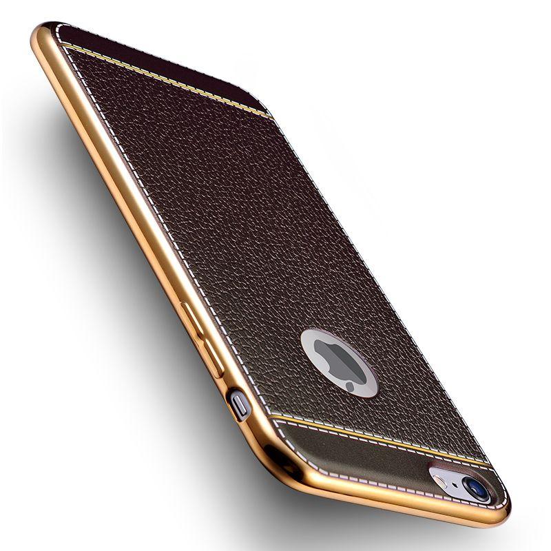 High Quality PU Leather Plating TPU Soft Edge Case For Apple iPhone 6 6S 7 <font><b>7Plus</b></font> SE 5 5S <font><b>Phone</b></font> Case Silicone Back <font><b>Cover</b></font> Shell