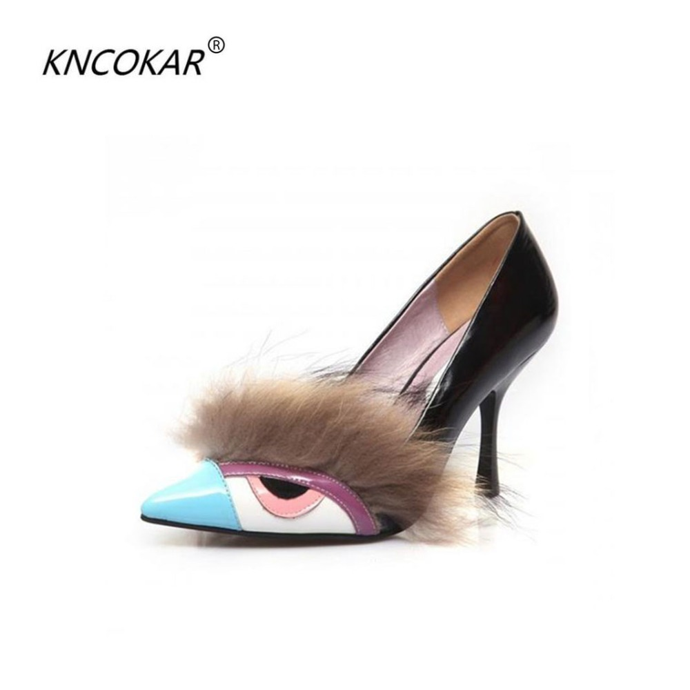 KNCOKAR 2018 high quality comfortable shoes in the spring and autumn elegant low help paint slip-on shoes fashion high heels spring and autumn flat shoes comfortable and easy to wear slip on closure type fur decoration win warm praise from customer
