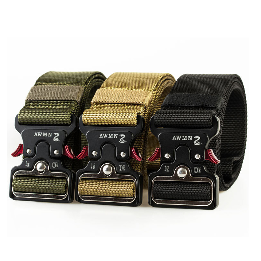 4.8 CM Width Canvas Belt Tactical Military Nylon Belts For Men Trousers Long Training Army Belt Metal Buckle Waist Belts Hunting