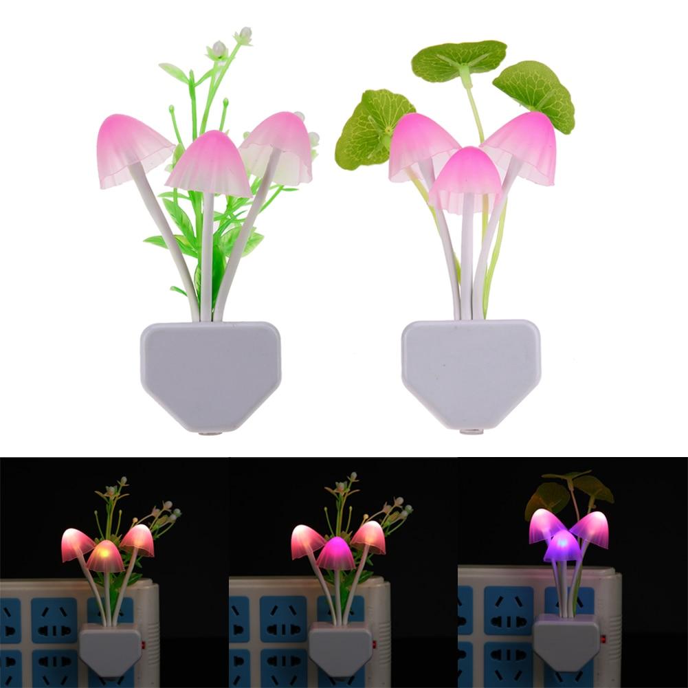 Colorful Mushroom LED Night Lights Projector Atomsphere Flower Shape Lamp Home Bedroom Bedside Decoration For Kid Gift EU Plug