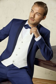 Brand New One Button Blue Groom Tuxedos Shawl Lapel Groomsmen Mens Wedding Prom Suits (Jacket+Pants+Vest+Tie) NO:245