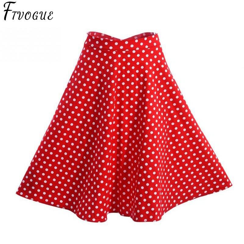 48f9e733ef9 2018 Women Polka Dot Skirts High Waist Sexy Pinup 50S 60S Vintage  Rockabilly Skirt Skater Midi