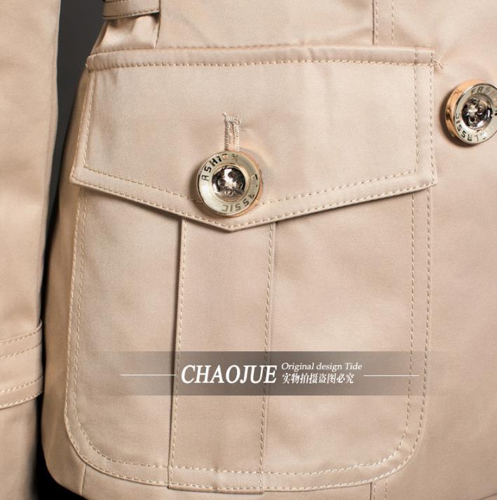 orange Femme Boutonnage Courte Femmes Pour Printemps Casaco Manteau Tranchée Beige rose Pardessus Feminino 2018 Mode Vêtements Mince Double Sobretudo qw4xqF7T