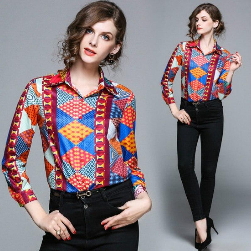2018 grande taille femmes Vintage imprimé Floral mode Blouse col rabattu tops tuniques femmes grande taille hauts chemise haut pour femme