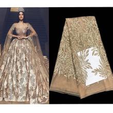 2019 Hot Fashion Elegante Franse Geborduurde Pailletten Mesh Kant stof Top kwaliteit Naaien Materiaal Voor Wedding Party Dress 5yards