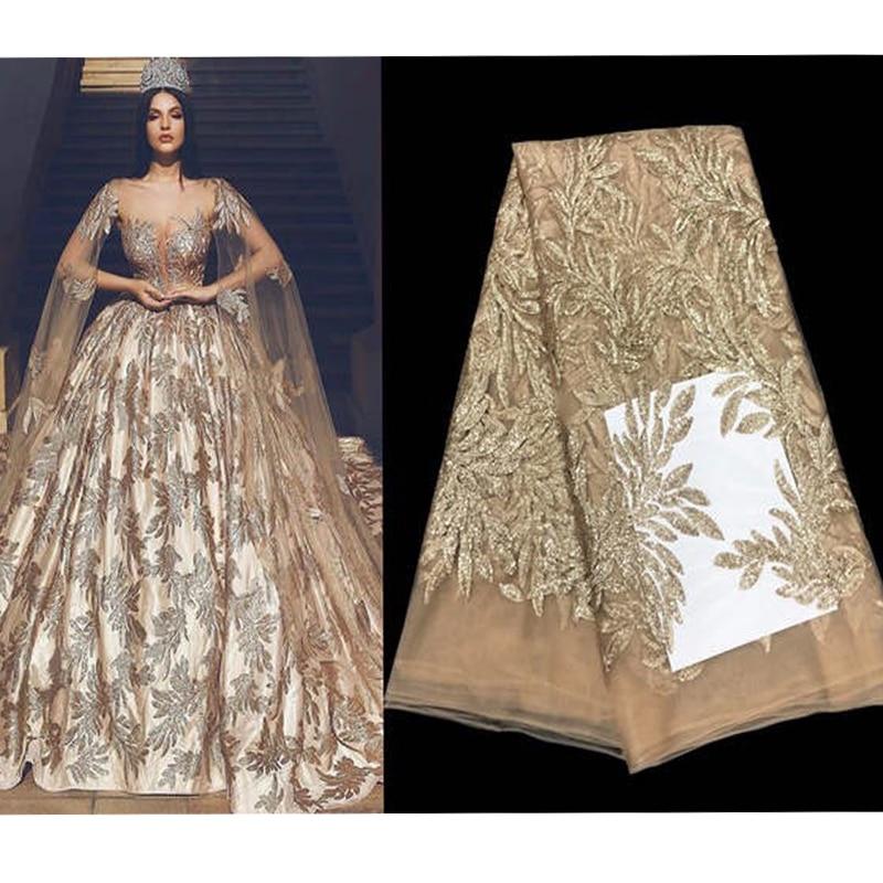 2019 mode chaude élégant français brodé paillettes maille dentelle tissu de haute qualité matériel de couture pour robe de soirée de mariage 5yards