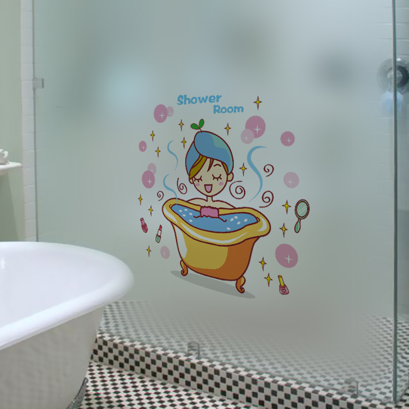 shower room wall stickers removable vinyl material toilet stickers diy bathroom wallpapers for washroom glass decoration