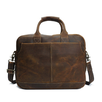 Retro Leather Document Bag Genuine Cow Leather File Paper Storage Bag Office Supplies
