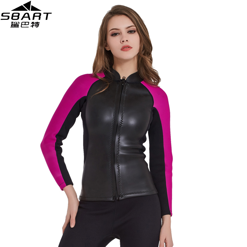 SBART 2MM Neoprene Diving Wetsuit Tops Women's Swim Shirt Long Sleeve Surfing Jacket Surf Warm Jacket Black Swimwear Wet Suit I sbart 2017 3mm neoprene full body wetsuit women winter warm long sleeve surfing diving suit anti uv diving swimming suit