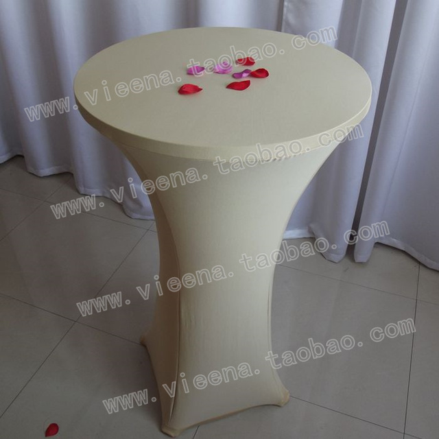 Free shipping Champagne cocktail spandex elastic table cloth set banquet wedding supplies desk enclosures