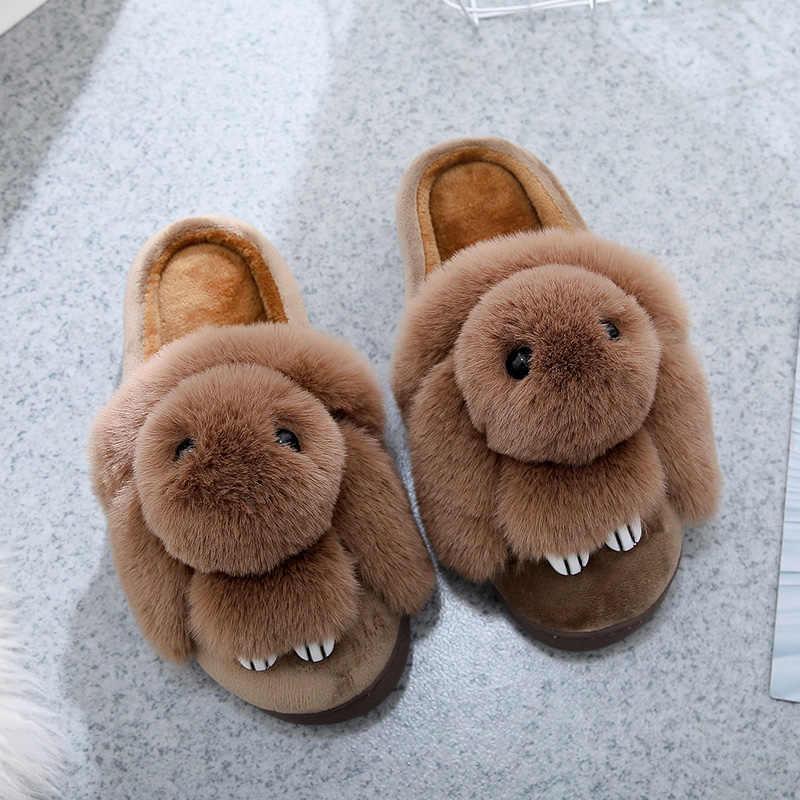 2019 חדש מקורה נעלי בית נשים של חמוד הנעלה לנשים ארנב בעלי החיים זוגות נעלי פרווה נעלי נשים אורח כפכפים chinelos