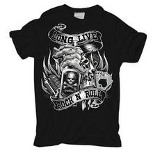 T-Shirt Long Live ROCK N ROLL Rockabilly Hot Rod Cash King Biker Rocker Tattoos Short Sleeves Cotton Fashion T Shirt