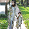 2016 Family fitted clothes Paternity long Coat Girls Mother women Outerwear Bird print Vintage Printings family matching outfits