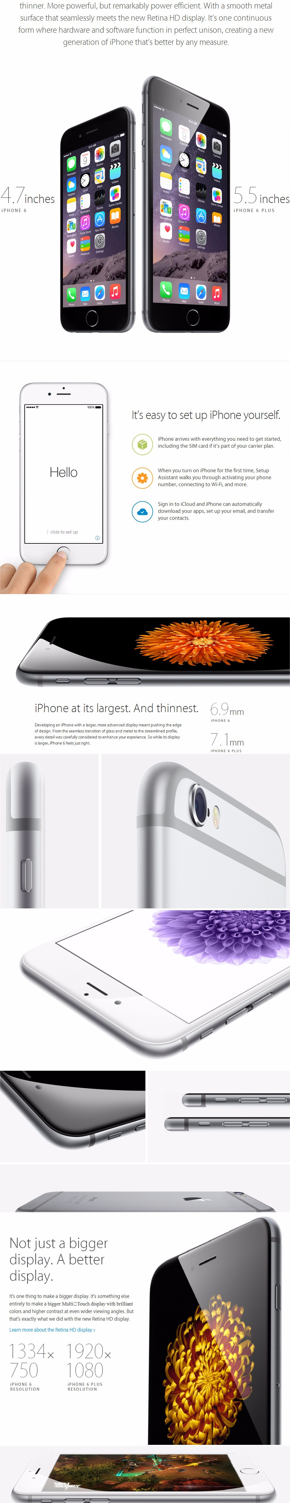 "Unlocked Original Apple iPhone 6 Plus 6P 16GB 64GB 128GB 5.5"" IOS 3G WCDMA 4G LTE 8MP Camera 1G RAM WIFI GPS Mobile Cell Phone 20"