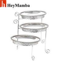 Heymamba منصة معدنية تقف طبق الفضة كعكة حلوى حلوى عرض حامل الزفاف الجدول الديكور
