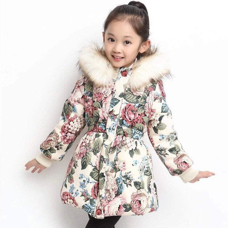 083c31d93 Baby Girls Outerwear Children Winter Floral Warm Cotton Coats Kids ...