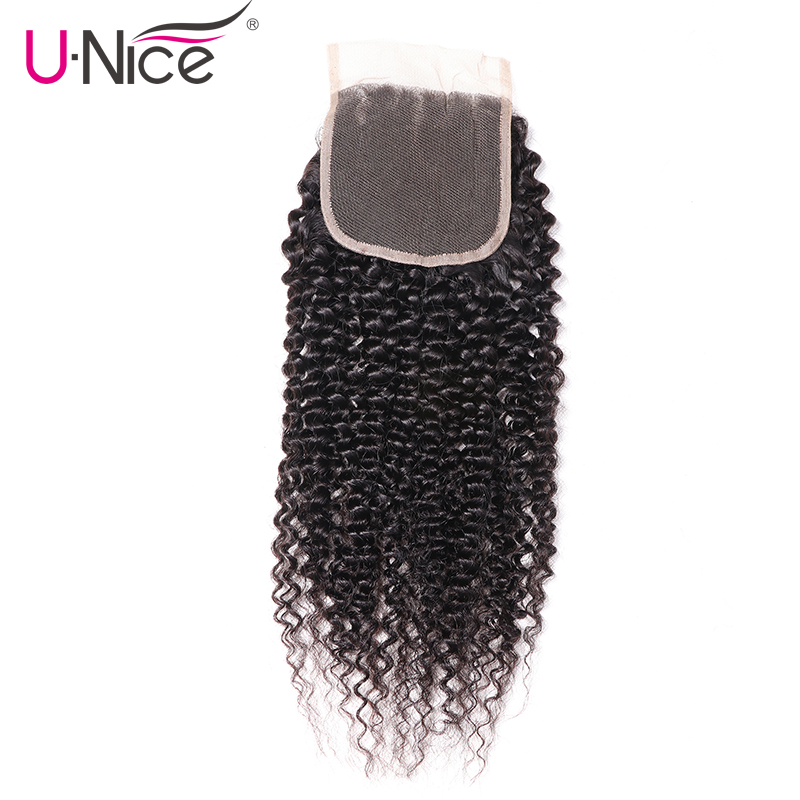 Unice Curly Closure Bundles Kinky Swiss Nature-Color 10-20inch Free-Part 100%Remy 4--4