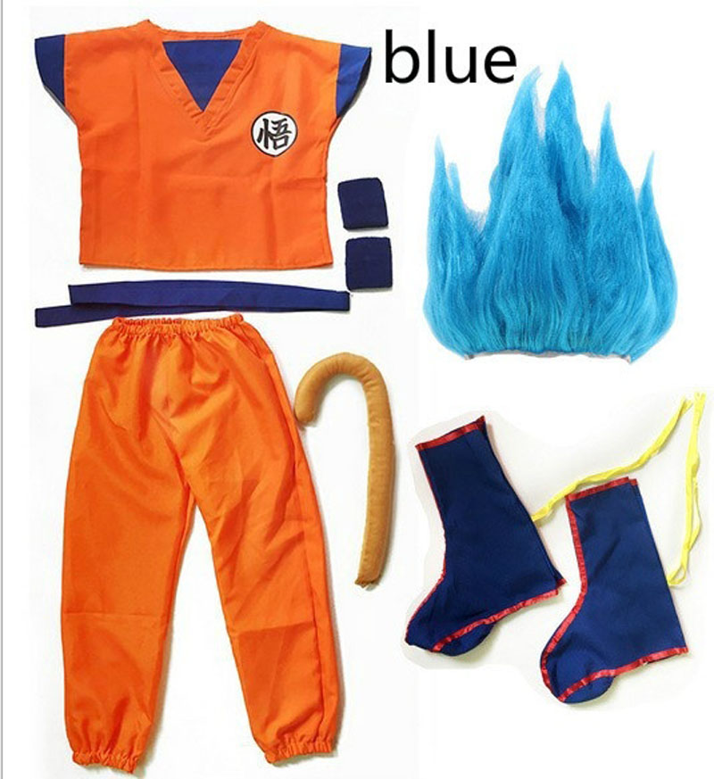Adult Kids Children Boys Girl Kid Child Dragon Ball Z Goku Costume Suit Son Cosplay Costumes Wig Clothes Set Fancy Halloween