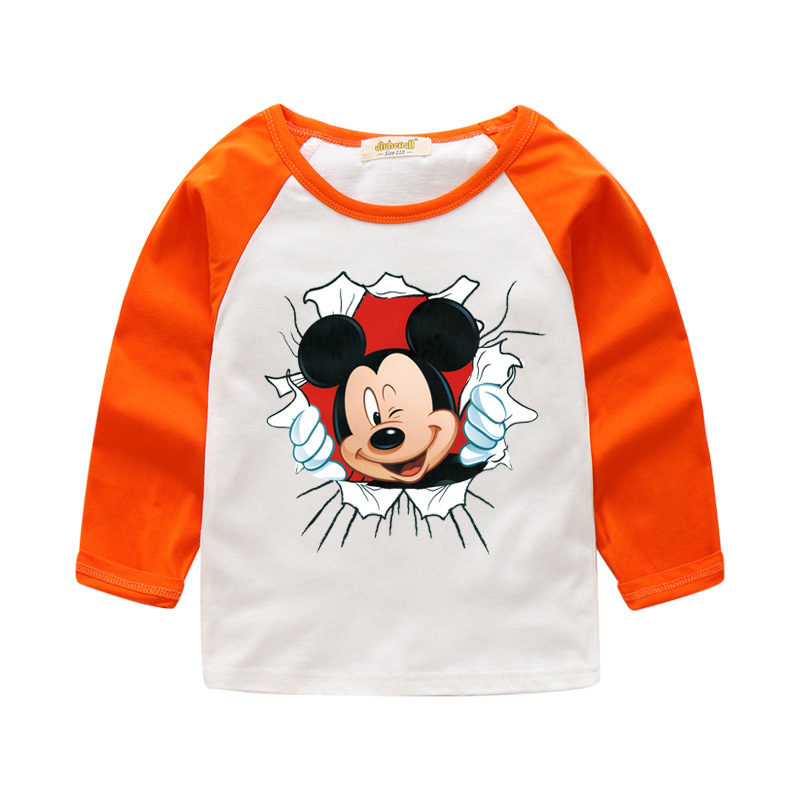 2018 Children Spring New Arrivals Mickey Print T-shirt For Baby Long Sleeve 100Cotton Tee Tops Clothes Boy Girl Costume CTX044