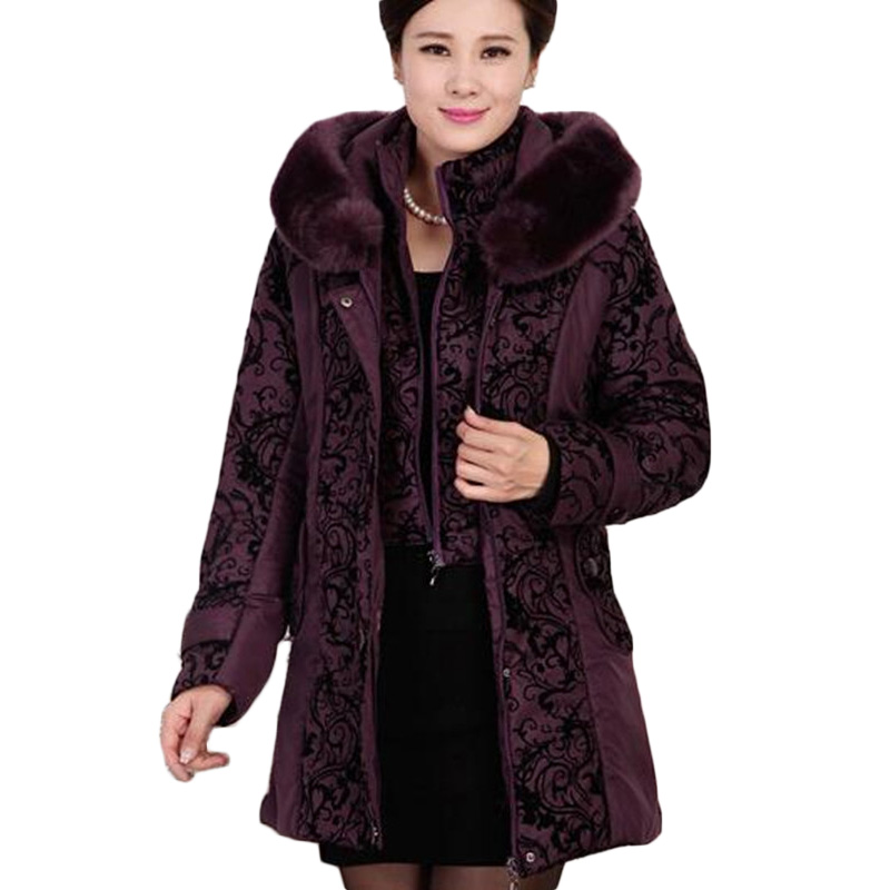 2017 New Middle-aged Winter Jacket Women Thicken Warm Cotton-padded Slim Female Plus Size 5XL Fur Collar Coat Female Parka AB047 майки