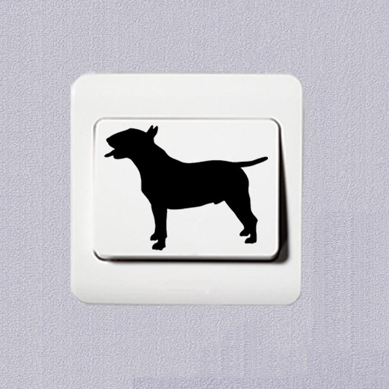Cute Pet Dog Bulldog Personality Cartoon Animal Vinyl Switch Sticker Decoration Wall Sticker 2SS0635