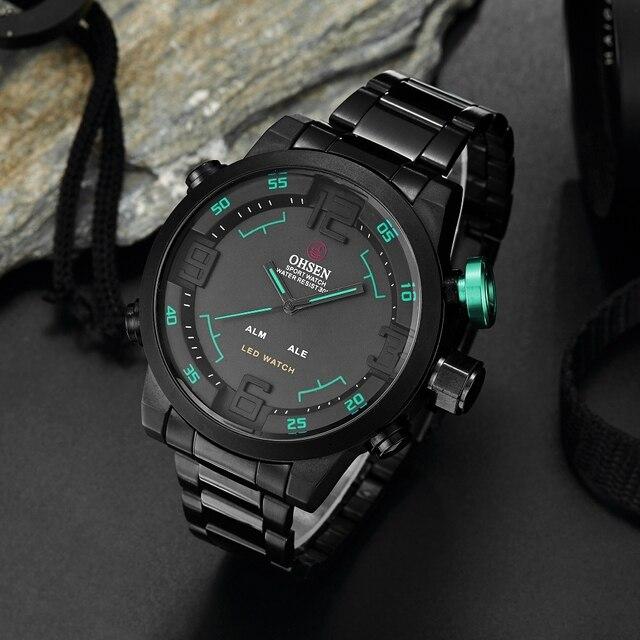 632ceddab8c4 OHSEN Digital de cuarzo de moda para hombre Reloj de pulsera negro completo  banda de acero