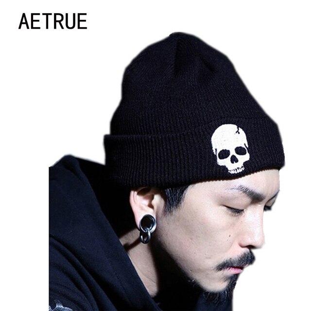 Crâne Bonnets Hommes de Chapeau D hiver Chapeaux Pour Hommes Femmes Hiver  Tricot chapeau Casquettes eca195b0ece