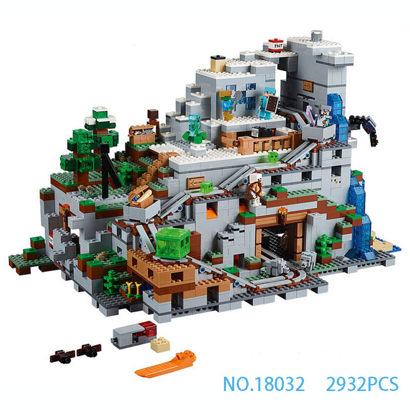 LEPIN18032 Model Building Kit Blocks Bricks Miniecraft The Mountain Cave My worlds Compatible with 21137 Kids educational toys dhl new lepin 06039 1351pcs ninja samurai x desert cave chaos nya lloyd pythor building bricks blocks toys compatible 70596