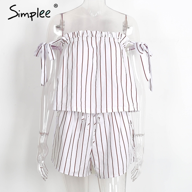 Simplee white bow stripe elegant jumpsuit romper Off shoulder two piece suit overalls Sexy summer beach playsuit women outfit