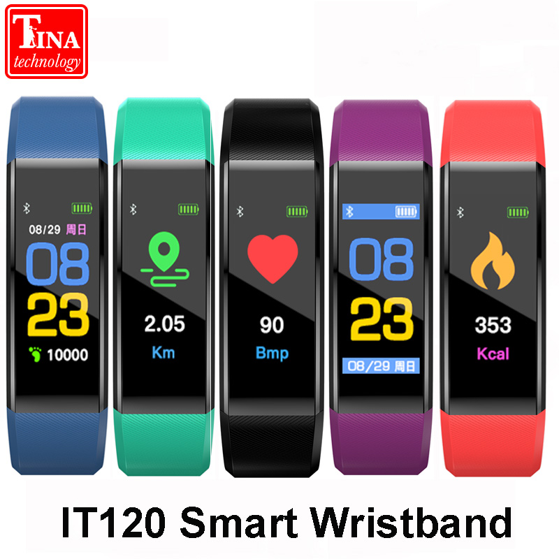 Original IT120 Wristband Heart Rate Monitor Fitness Tracker band Color Screen Sport Smart Bracelet for IOS Android VS ID115 PLUS