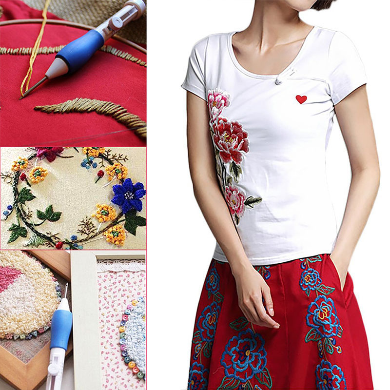 Magic DIY Embroidery Pen Knitting Sewing Tool Kit Punch Needle Set Threads Plastic Steel Home Decoration DIY Sewing Tools in Sewing Tools Accessory from Home Garden
