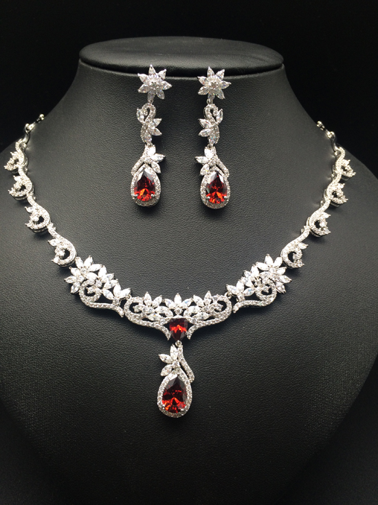 2019 NEW FASHION,Retro microinlay Flower vine red zircon bride necklace earring set,wedding bride party dress banquet jewelry2019 NEW FASHION,Retro microinlay Flower vine red zircon bride necklace earring set,wedding bride party dress banquet jewelry