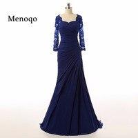 Menoqo 2978S Real Photo 2017 Mermaid Applique Chiffon Long sleeve Elegant full length mother of the bride dress