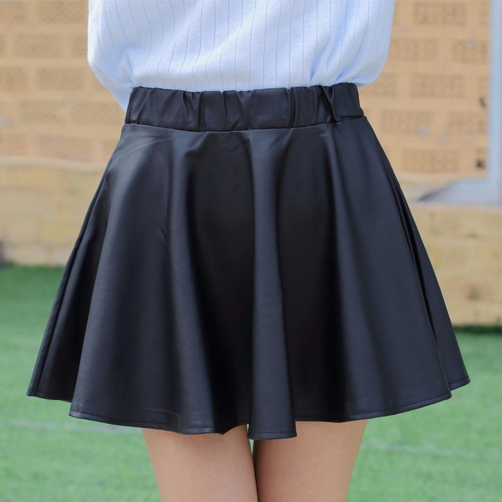Danjeaner PU podzimní zimní sukně ženy 2017 vysoký pas černý tenký mini vodotěsný skládaný sukně ženské ležérní kožené sukně  t