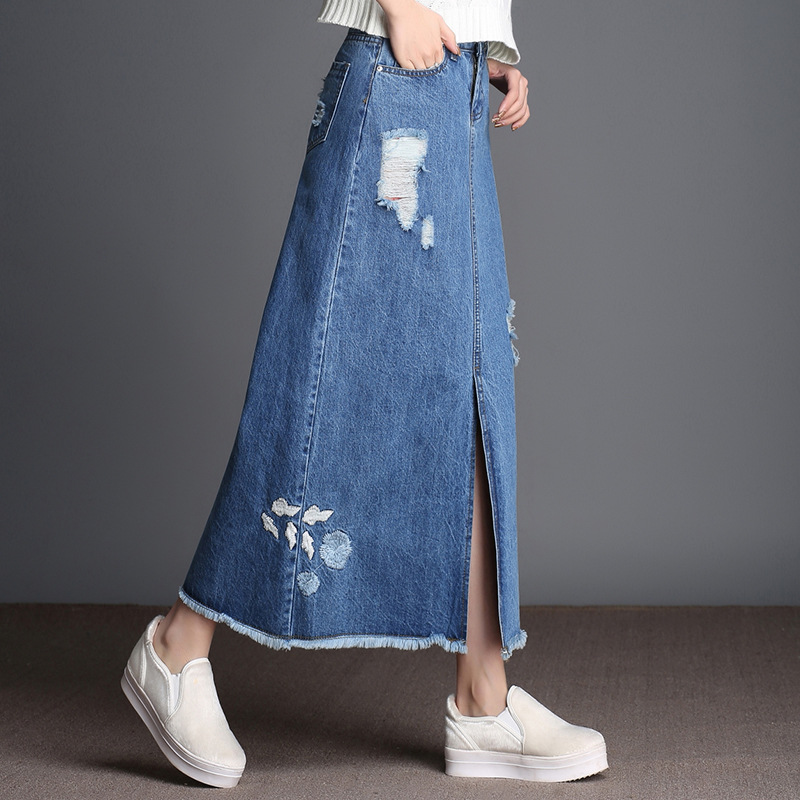 2017 autumn winter fashion denim skirt high