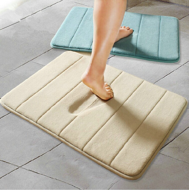Nicerug Memory Foam Bathroom Carpets Water Absorbing Skidproof Soft Stripe Bathmat Tub Floor Rugs Mats For