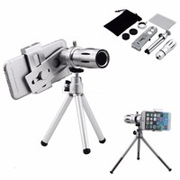 12X Telephoto Lens Phone Camera Zoom Lens Optical Lenses Lentes With Universal Clip For Iphone 5s