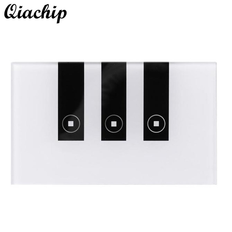 QIACHIP 3 Gang AC90-250V Tempered Glass Wireless WIFI Remote Control Smart Home Touch Sensor Switch Panel Work With Amazon Alexa smart home us black 1 gang touch switch screen wireless remote control wall light touch switch control with crystal glass panel