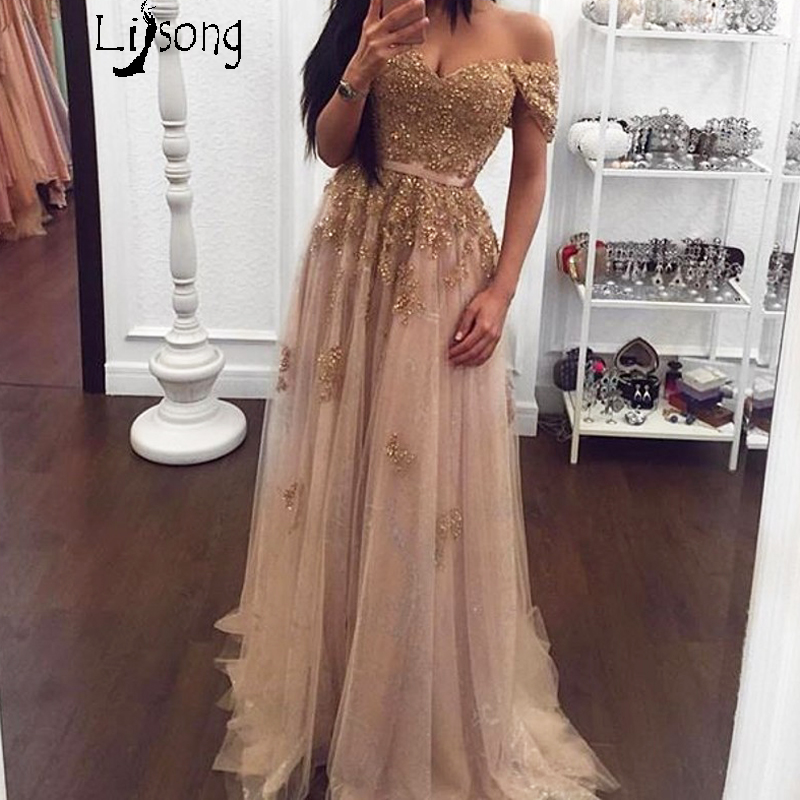 Gold Appliques Champagne A-line Empire Evening Dresses Long Womens Fashion Off Shoulder Custom Made Formal Maxi Gowns Vestidos