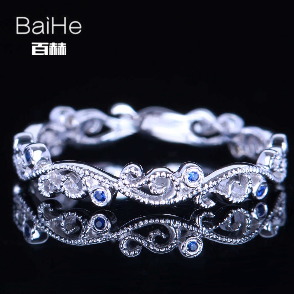 BAIHE Sterling Silver 925 0.04ct Certified H/SI Round Cut 100% Genuine Sapphires Wedding Women Trendy Fine Jewelry unique Ring