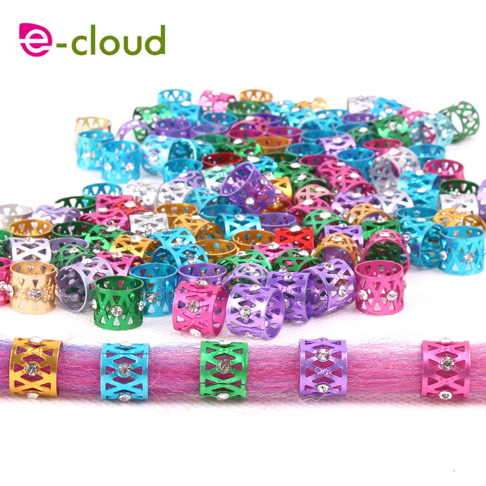 Diamante e Ouro Anel de Tubo de Metal Contas para Contas de Cabelo para Dreadlocks Acessórios para o Cabelo Bolsa Tranças Dreadlock Beleza 100 Pçs –