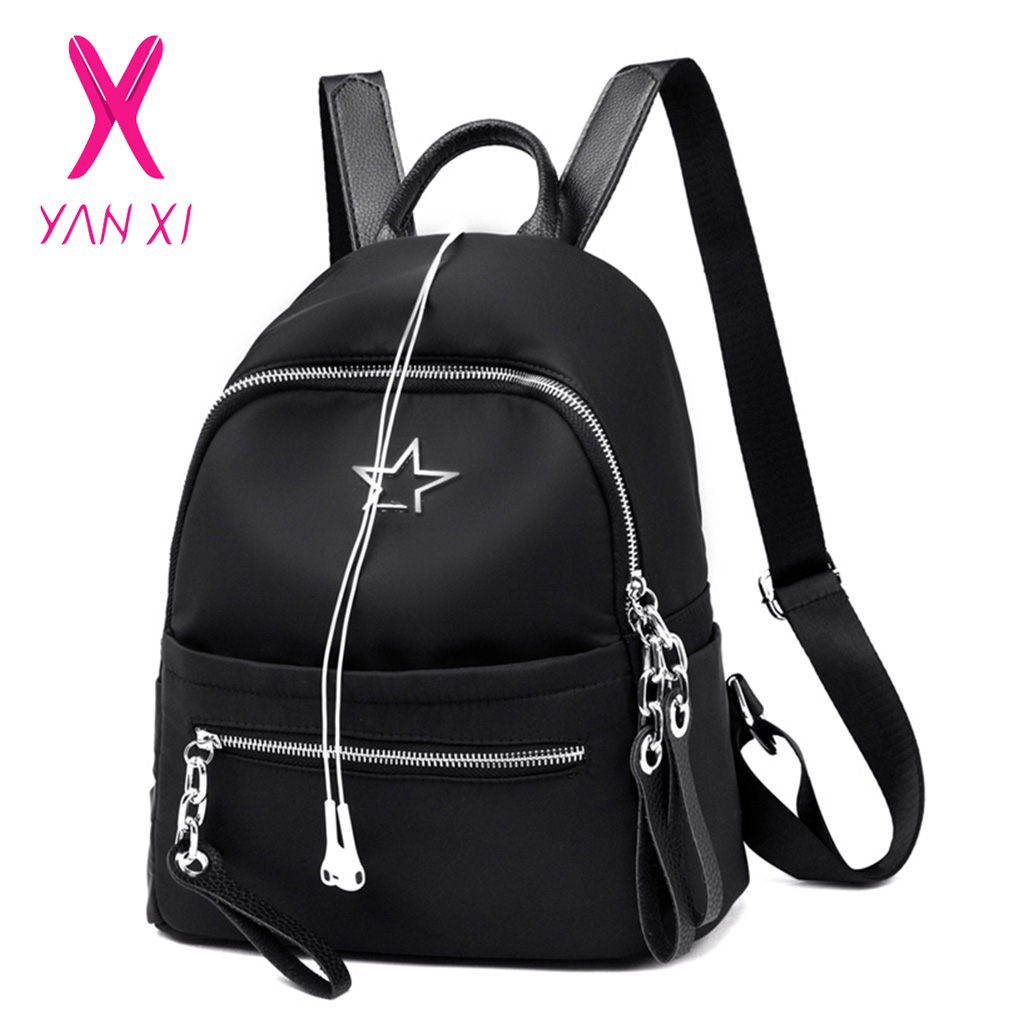 YANXI 2018 Hot Women Causal Nylon Backpack Black Star Pattern Shoulder Bag Girls Large Capacity School Bag Waterproof BackpackYANXI 2018 Hot Women Causal Nylon Backpack Black Star Pattern Shoulder Bag Girls Large Capacity School Bag Waterproof Backpack