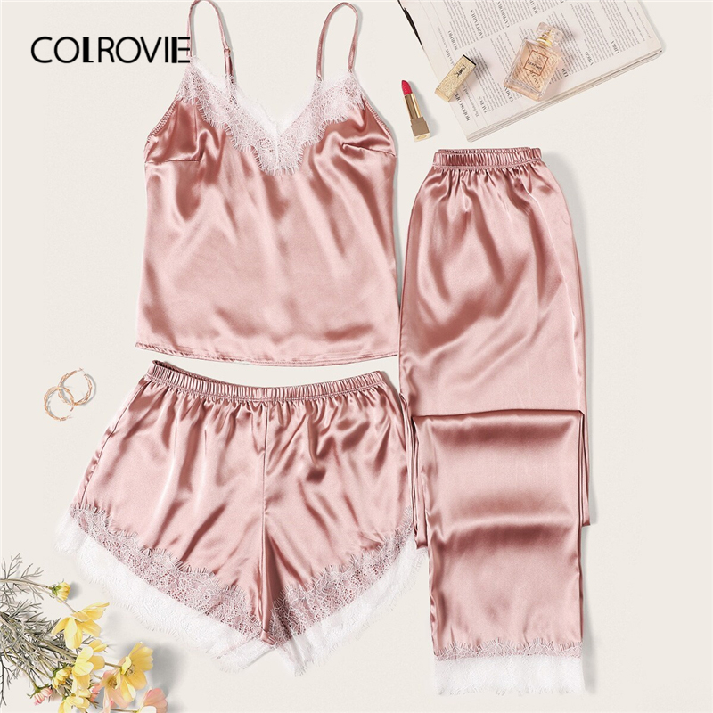 COLROVIE Pink Eyelash Lace Satin Cami   Pajama     Set   With Pants 2019 Summer Lounge Nightgowns Ladies Sexy Sleepwear