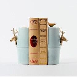 1 пара Новый китайский стиль керамический и латунный книгодержатель полка прекрасная лошадь держатель для книг офисные канцелярские прина...