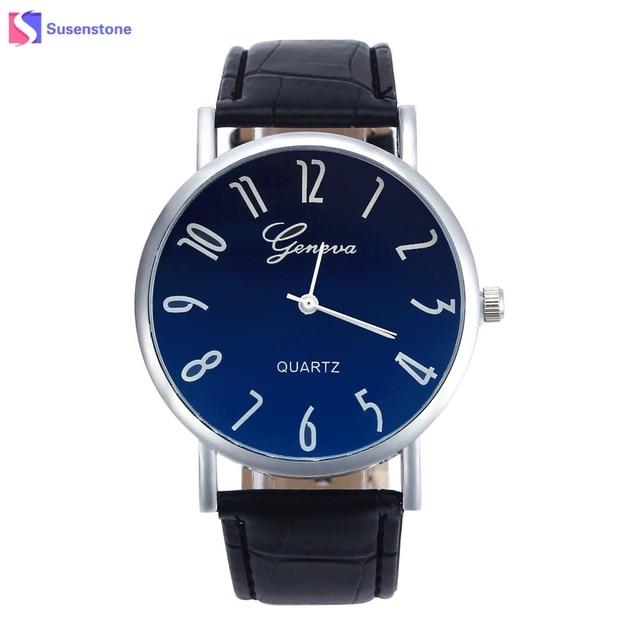 Cheap Hot Sale Geneva Quartz Watch Men Women Big Dial Business PU Leather Fashio