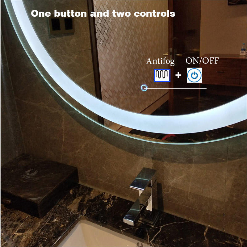 Customized Size LED Mirror Toilet Smart Bathroom Mirror Round vanity Makeup Mirrors Wall Touch Screen Control Anti fog Bluetooth 4