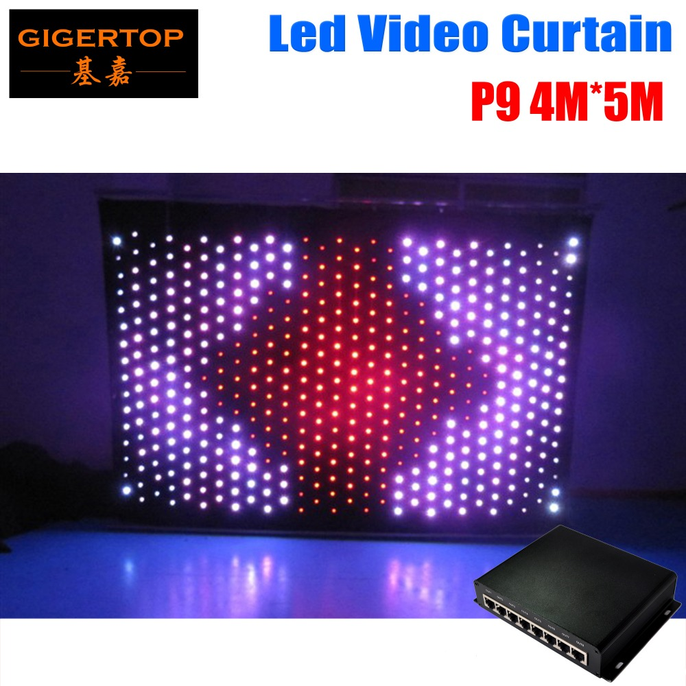 P9 4M*5M Fireproof Led Vision Curtain DJ Backdrop + DIY Program RGB Light VIDEO Curtain equipped on line controller freeshipping 2 mtr x 4 mtr p18 matrix led rgb dj party garden star video curtain backdrop for home garden birthday party