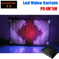 P9 4M*5M Fireproof Led Vision Curtain DJ Backdrop + DIY Program RGB Light VIDEO Curtain equipped on line controller