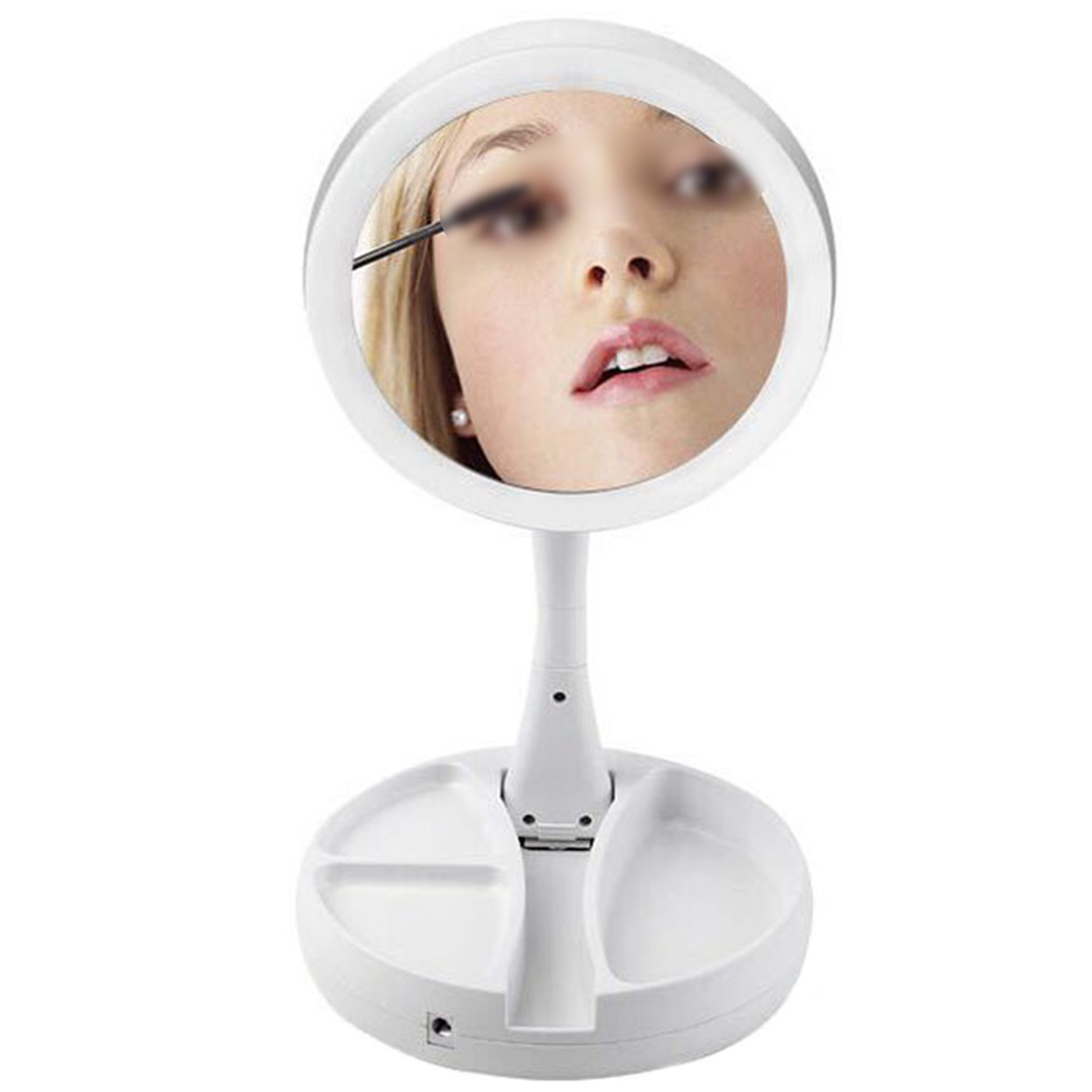 16Leds with Light -touch Screen Makeup Mirror/ White/10X Magnifying /Foldable Portable LED Lighted Makeup vanity compact Mirror 22 led touch screen makeup mirror 10x magnifier bright lighted cosmetic makeup mirror portable vanity countertop 180 rotating